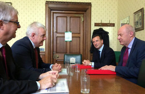 The First Secretary of State Damian Green and the Secretary of State for Wales Alun Cairns meeting the First Minister of Wales Carwyn Jones