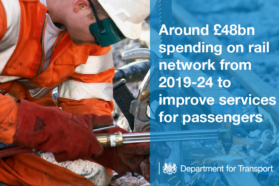 Around £48 billion will be spent on railways from 2019 to 2024 to improve passenger services