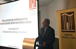 UK Government Minister Guto Bebb MP speaks to the audience at the Policy Forum event