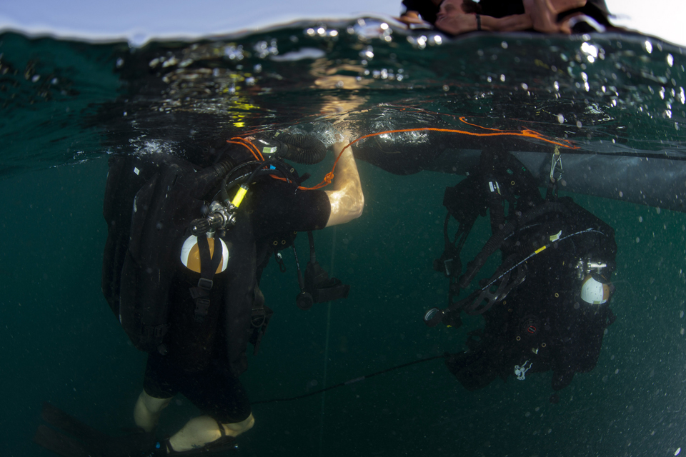 Royal Navy divers on a mine warfare exercise in the Gulf