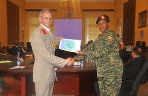 Defence attaché to Ethiopia handing over certificates
