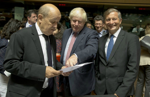 Foreign Secretary Boris Johnson in discussion with his EU counterparts at the Luxembourg meeting.