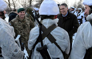 Defence Secretary Philip Hammond visiting Royal Marines commandos during cold weather training in Norway [Picture: Petty Officer (Photographer) Sean Clee, Crown copyright]