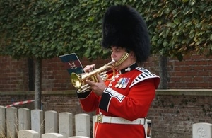 Max Harris, trumpeter plays at Private Anderson's rededication service. Crown Copyright. All Rights Reserved.