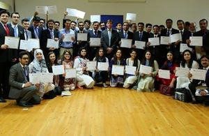 The selected scholars with the Acting British High Commission, Mr. Richard Crowder at the reception.