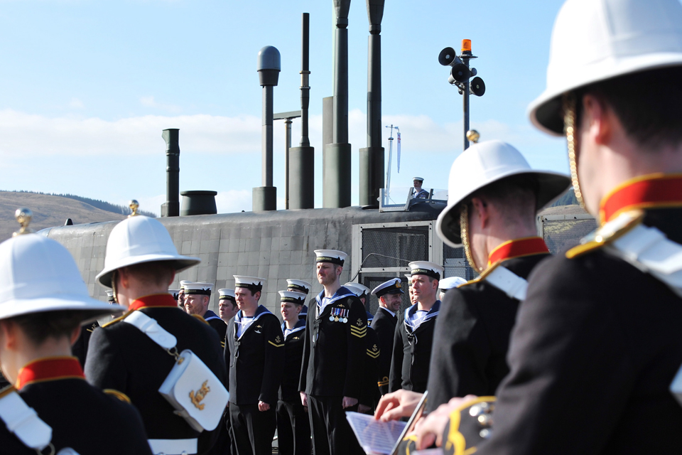 A Royal Marines band at the commissioning ceremony