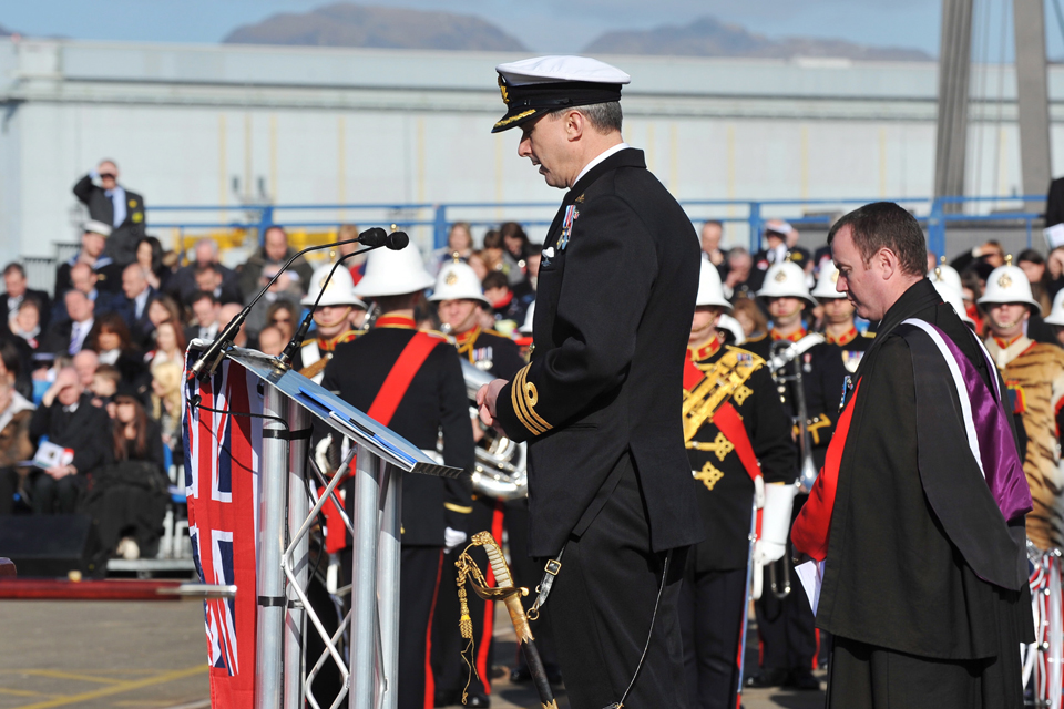 Commander Peter Green addresses the crowd