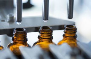 Bottles on a pharmaceutical production line