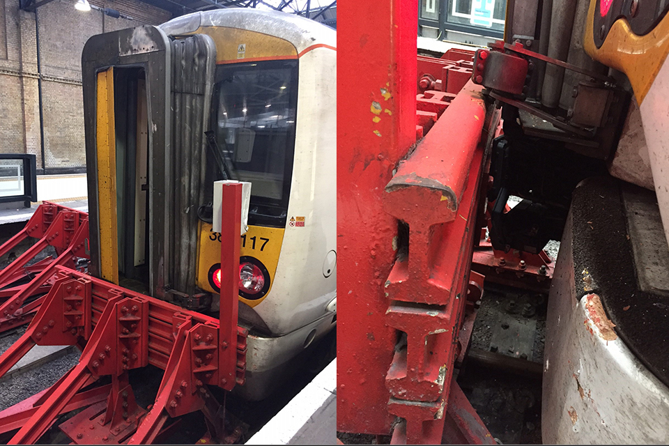 The train and the buffer stops after the collision (images courtesy of Network Rail)