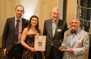 Nancy Baume and Dennis Furnell receiving the award. Photo credit to Clearwater Photography.