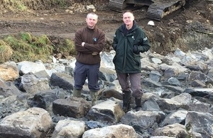 Image shows Paul Frear from the EA and Steve Hudson from WRT at Brancepeth Beck