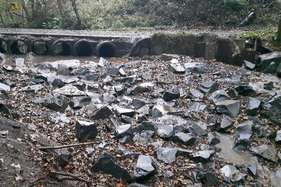 Image shows the new rock ramp at Brancepeth beck