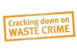 Orange on white logo that says 'cracking down on waste crime'