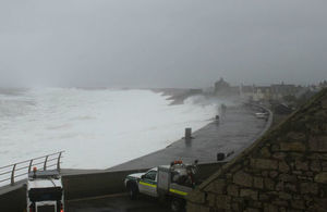 Large wave hitting Chesil Beach during storm in February 2014