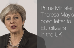 Picture of Prime Minister Theresa May during her speech in Florence