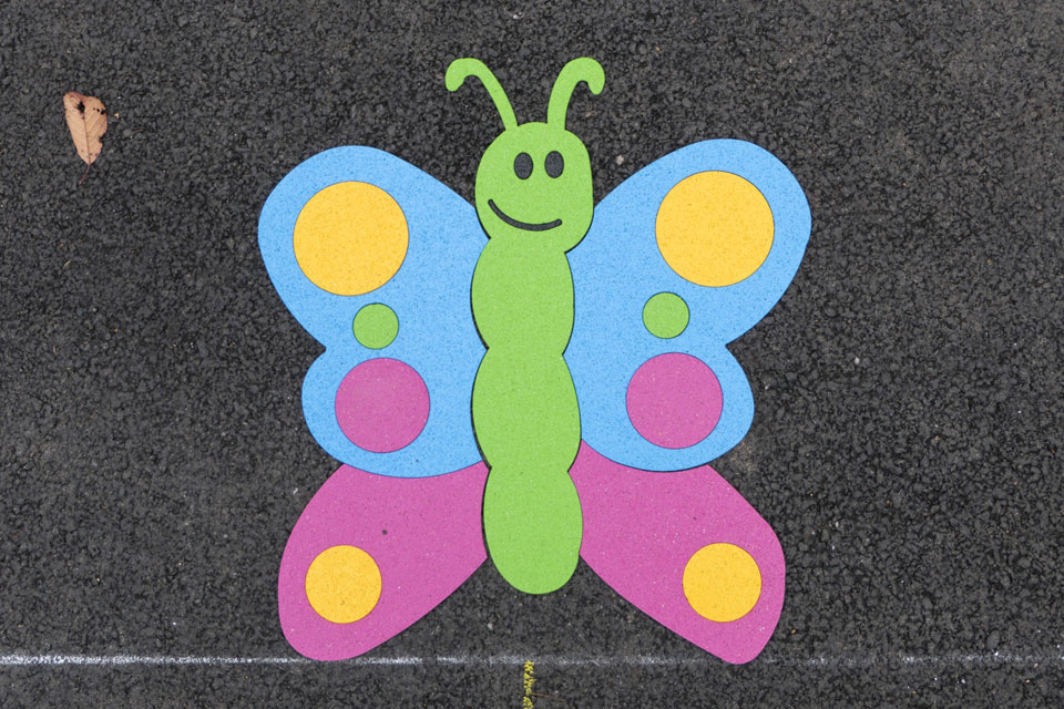 A butterfly playground decoration