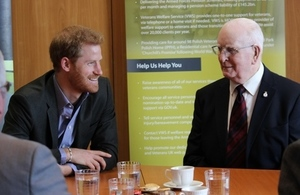 Prince Harry talks to veteran Stanley Rawcliffe, Crown Copyright, All Rights Reserved