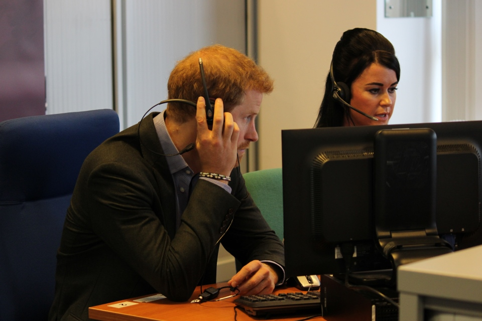 Prince Harry listens in to a Helpline call with Lyndsay Ethell, Crown Copyright, All Rights Reserved