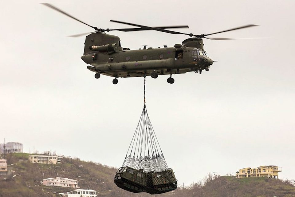One of the UK Chinooks undertaking relief work in the Caribbean in the aftermath of Hurricane Irma.