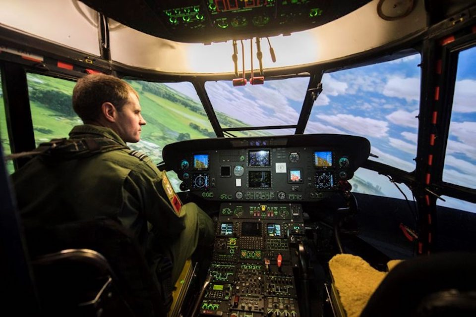 One of the helicopter simulators in action at RAF Benson.
