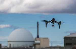 A camera mounted on an unmanned aerial vehicle or 'drone' is carrying out tasks at Dounreay site in Caithness, Scotland.