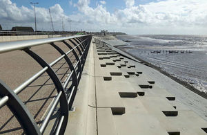 The £27m defence will help protect Blackpool from coastal flooding
