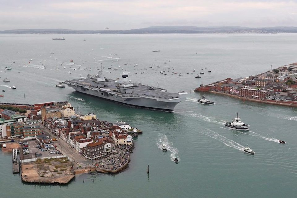 The UK's new aircraft carrier, HMS Queen Elizabeth, part of which was built by A&P Tyne.