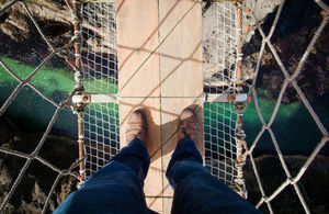 A look down from the Carrick-a-Rede Rope Bridge in Northern Ireland
