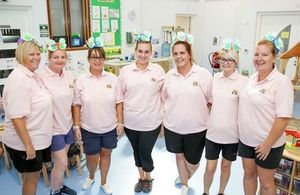 Staff celebrate the opening of nursery in Akrotiri. Crown Copyright, 2017. All rights reserved.