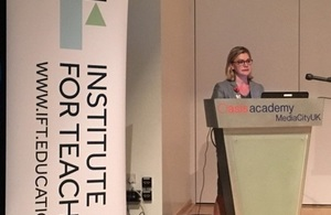 Justine Greening speaking at Institute for Teaching launch