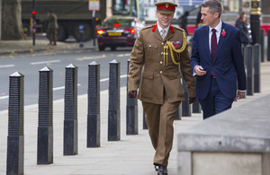 Defence Secretary, Gavin Williamson, with Colonel John Clark. Crown copyright.