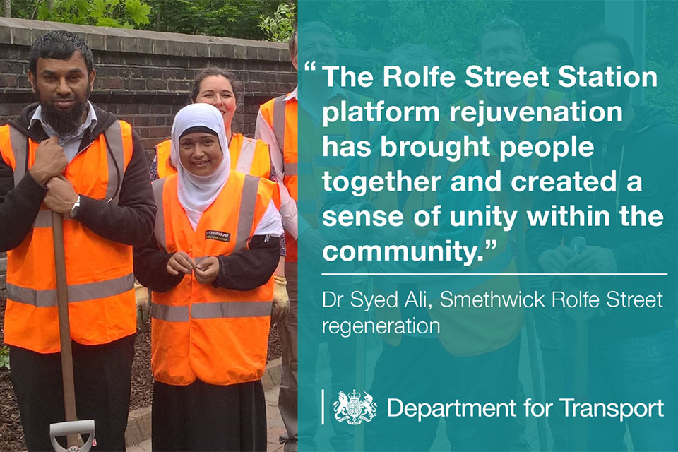 Smethwick Rolfe Street Station platform rejuvenation has brought people together and created a sense of unity within the community.