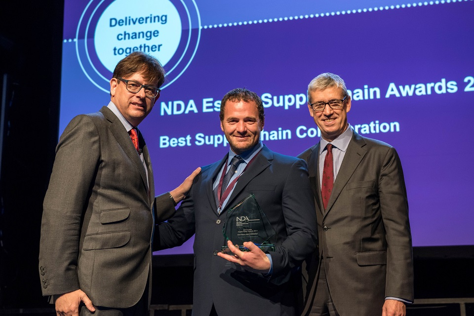 Anthony Horton, of Carillion, who were part of the team to win the collaboration award, with Ron Gorham and NDA Chairman Tom Smith