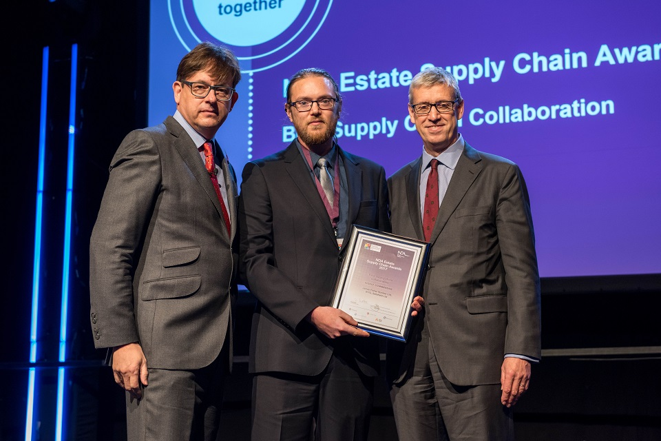 Chris Moffat (centre), from James Fisher, who were part of the highly commended team in the collaboration category