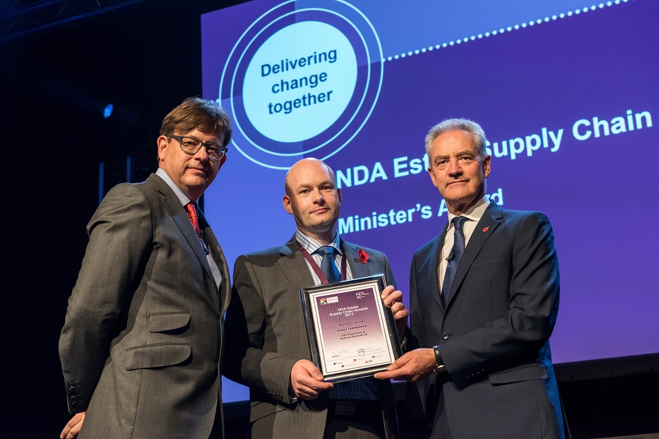 JGC's William Campbell, who collected the Minister's SME award, with Ron Gorham and David Peattie