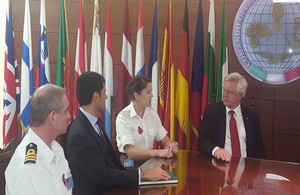 Secretary of State, David Davis, meets members of Operation Sophia