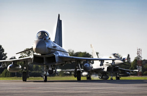 Two Royal Air Force Typhoon Aircraft on NATO Enhanced Air Policing. Crown copyright.