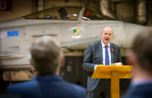 The First Secretary of State speaking at RAF Lossiemouth.