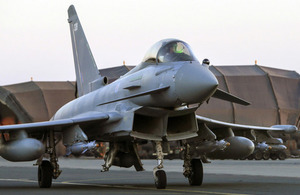 A RAF Typhoon FGR4 prepares for take off during Operation Shader, from RAF Akrotiri in Cyprus.