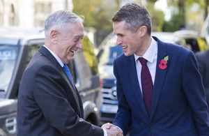 UK Defence Secretary Gavin Williamson (right), welcoming US Secretary of Defence Jim Mattis, outside MoD Main Building in London.