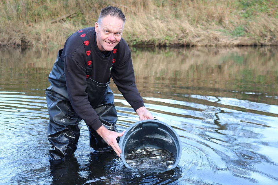 Image shows Paul Frear releasing fish into the Wear