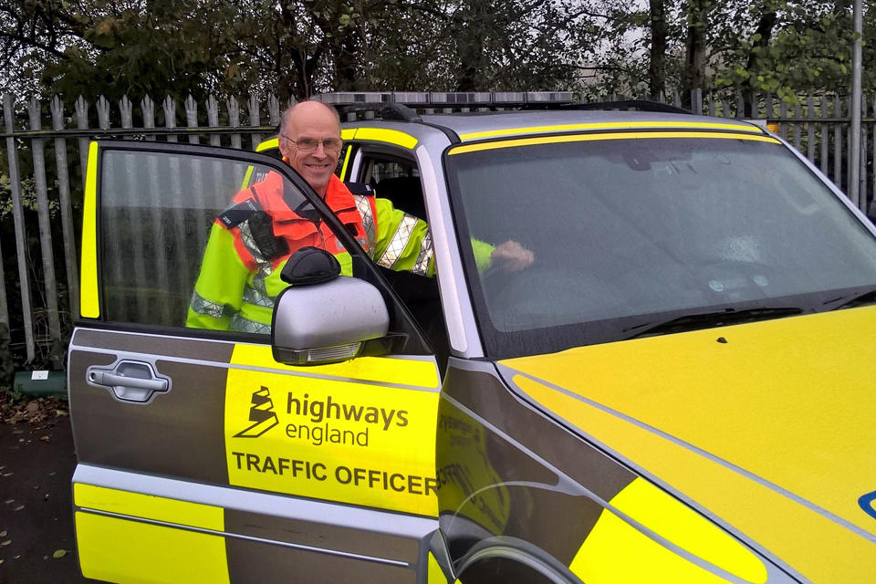 Image of traffic officer Chris Russell on duty at the Chelston outstation in Somerset