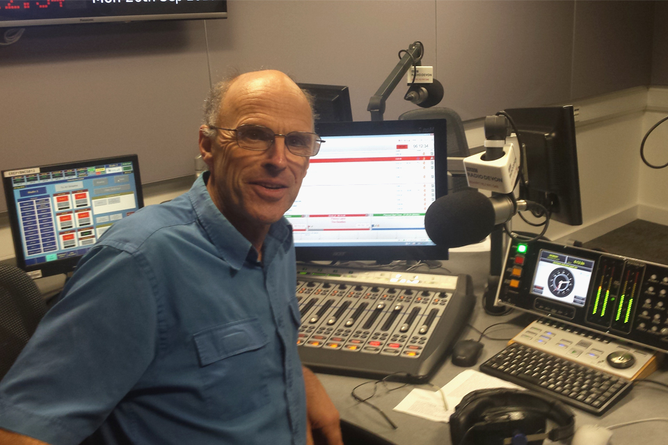 Image showing Chris Russell pictured in the BBC Devon studio