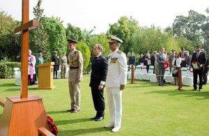 The British High Commissioner, Thomas Drew CMG, during the service of remembrance in Islamabad.