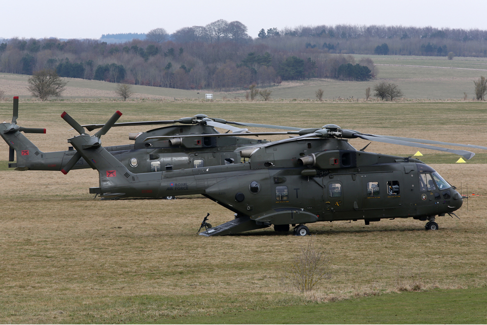 RAF Merlin HC3 helicopters at Netheravon Airfield Camp