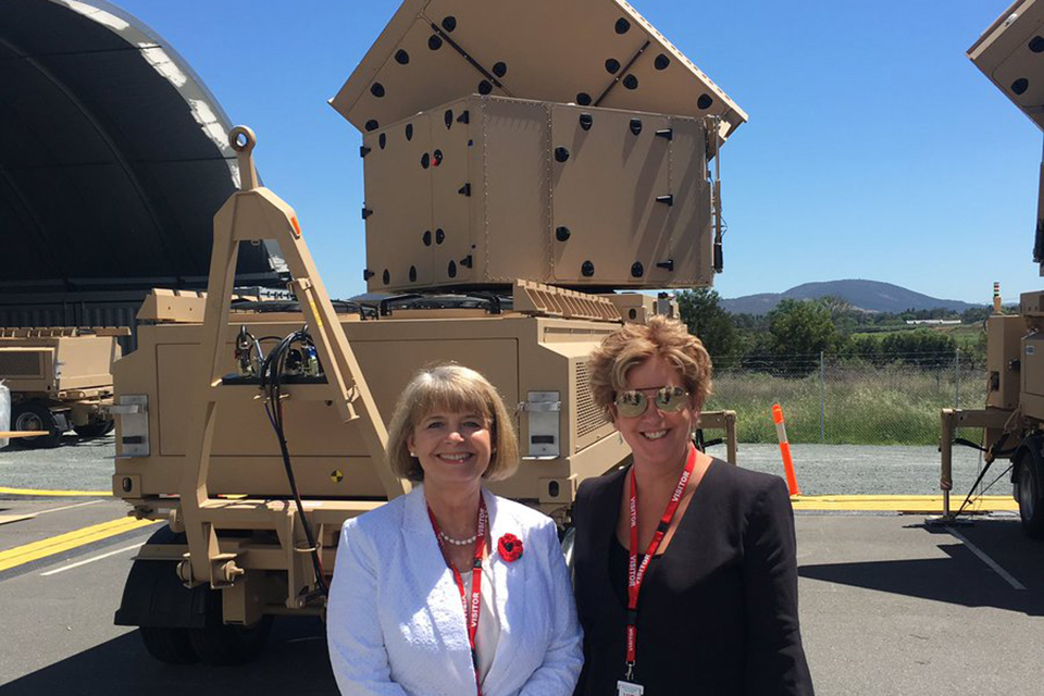 Minister Baldwin at CEA with British High Commissioner to Australia, Menna Rawlings, looking at radar systems.