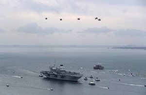 HMS Queen Elizabeth coming into Portsmouth.