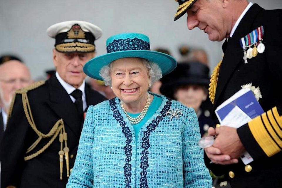 Her Majesty the Queen attending the Naming Ceremony for the new aircraft carrier in 2014.