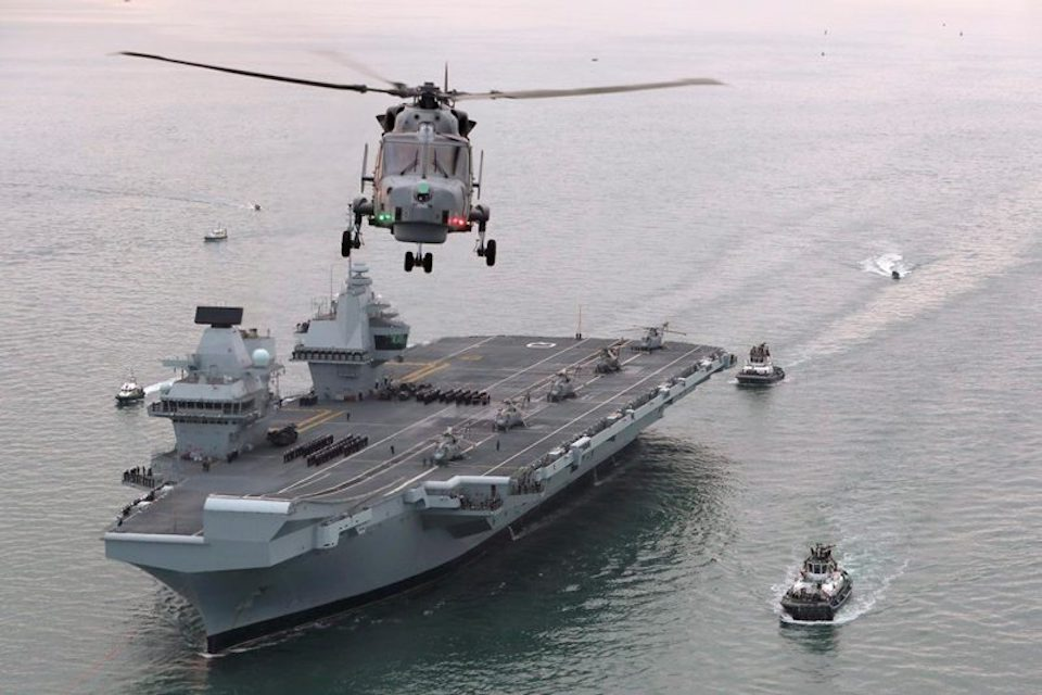HMS Queen Elizabeth is currently on sea trials off the south coast of England.
