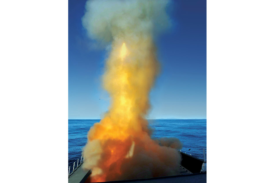 A missile is launched from a Type 45 destroyer
